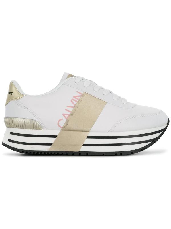 1405454a802a78 Calvin Klein Jeans 40Mm Coretta Nylon Platform Sneakers In White ...