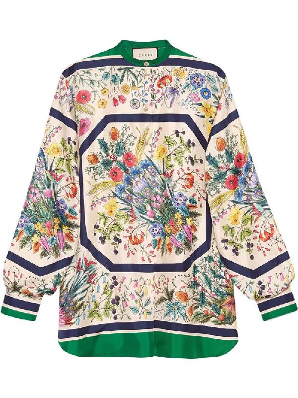 c6c9fab3 Gucci Festival Floral-Print Silk Twill Guru Shirt In Neutrals | ModeSens