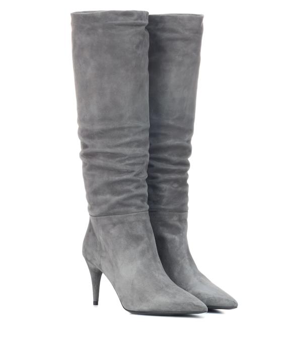 Prada Mid-heel Suede Knee-high Boots In Grey