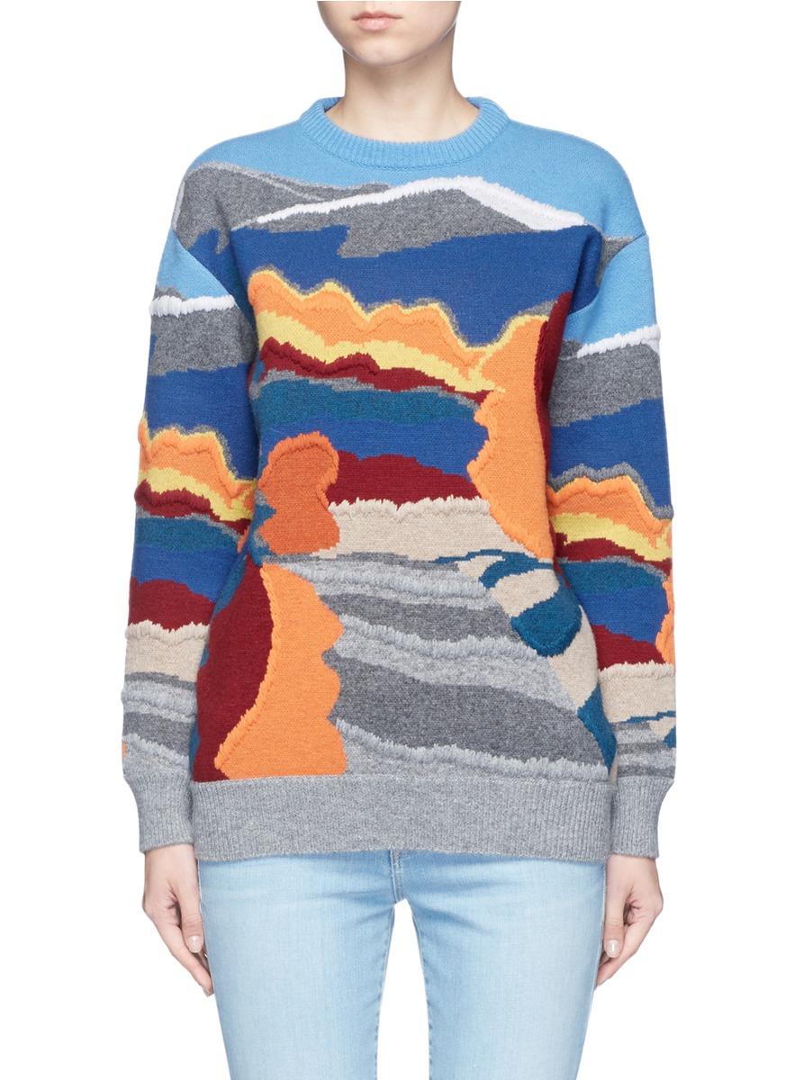 1c5ecc41b Stella Mccartney Landscape Jacquard Embroidered Wool Sweater