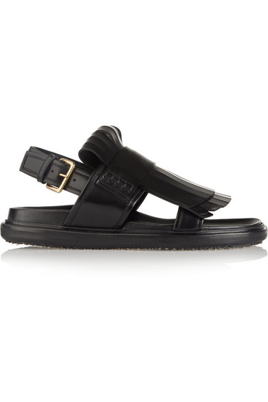 Marni Fussbett Carbone Leather Sandal W/Staggered Double Fringes In Black