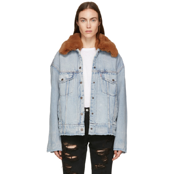 8bee859cba1 LEVI'S. Oversize Faux Shearling Lined Denim Trucker Jacket With Removable Faux  Fur ...