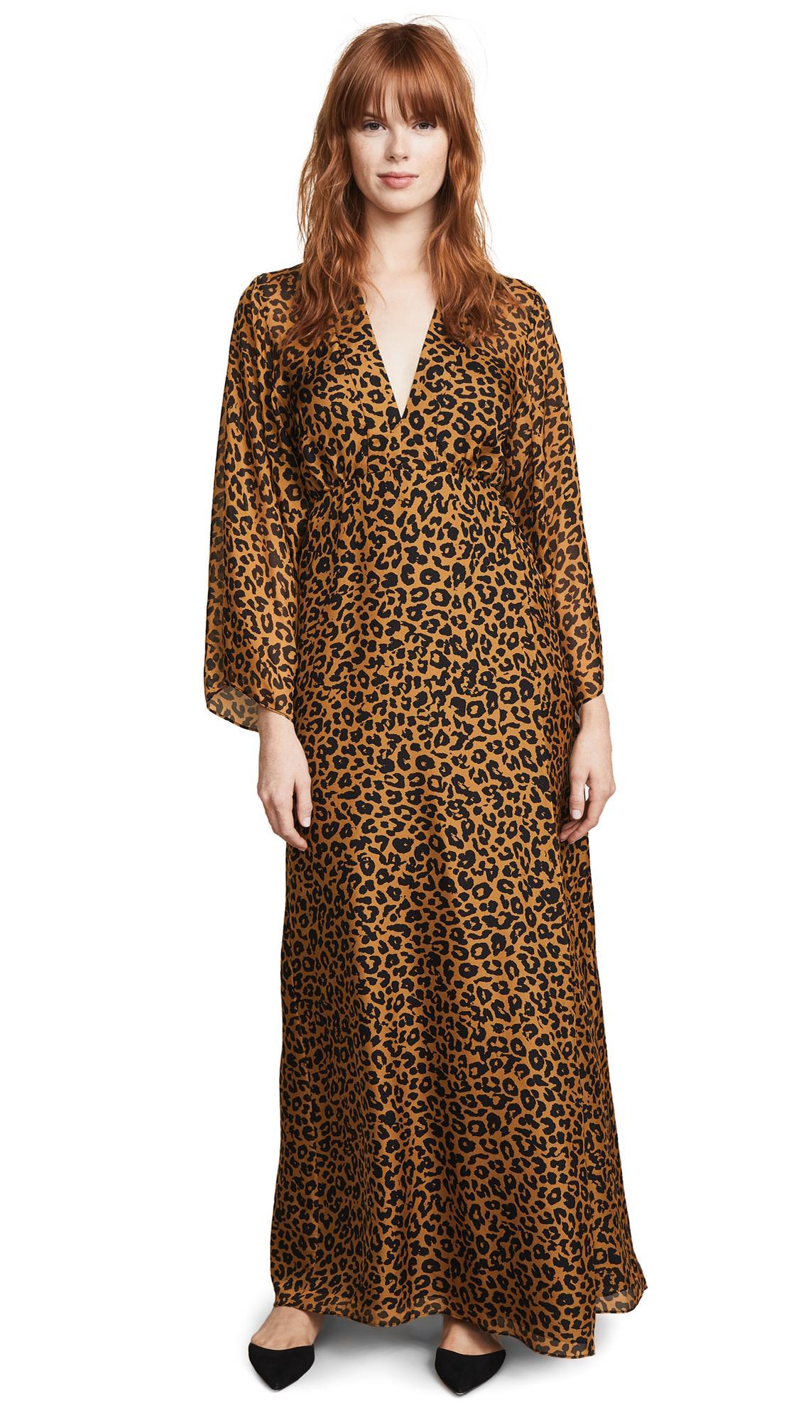cf61c73067f7 Michelle Mason Plunge Gown In Tan Leopard   ModeSens