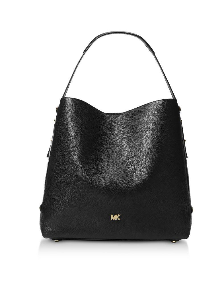 Michael Kors Griffin Large Leather Shoulder Bag In Black