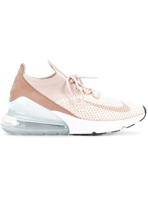 94b08c4ad1 Nike Women's Air Max 270 Flyknit Casual Shoes, Brown In Pink | ModeSens