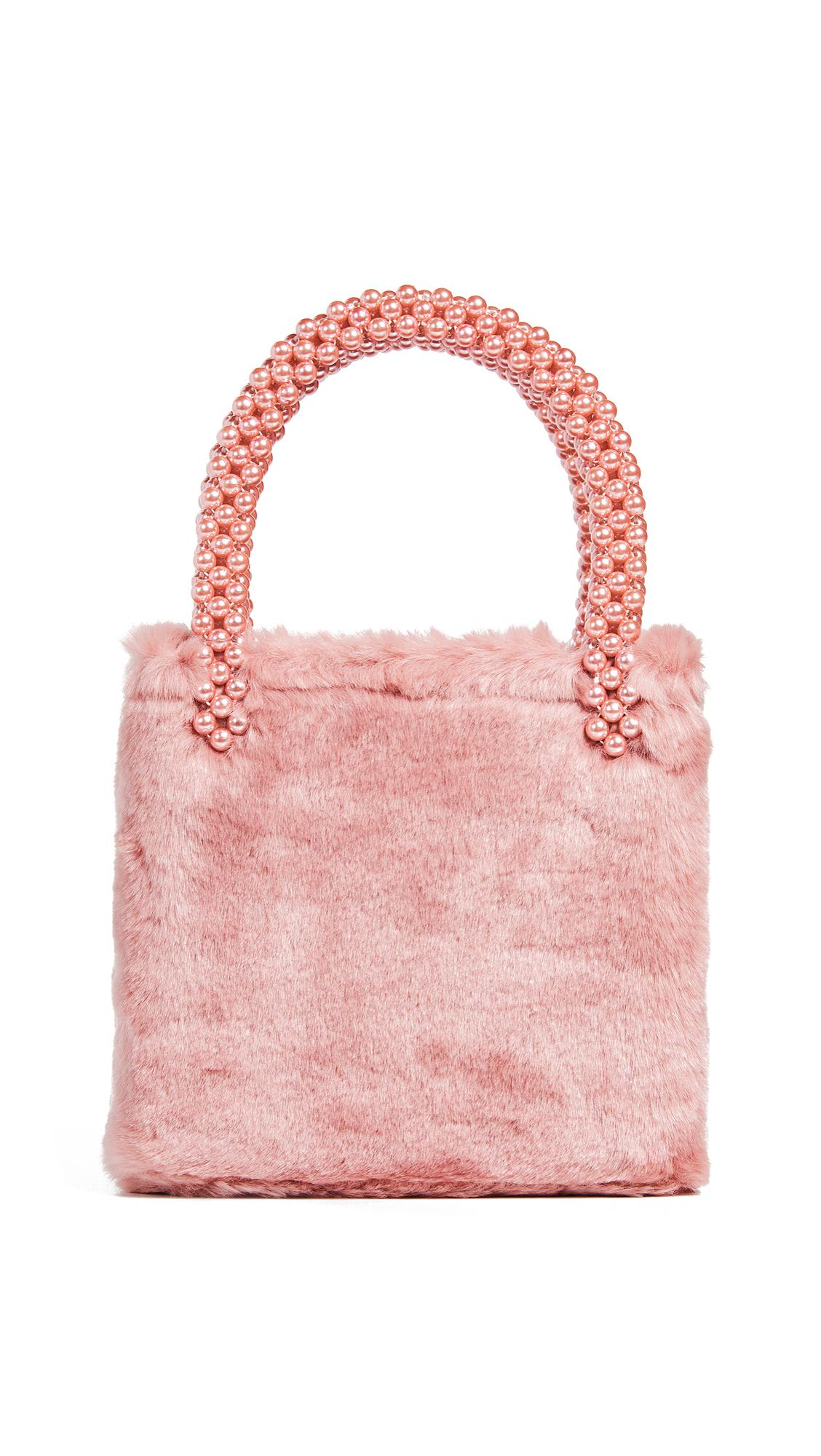 Shrimps Una Faux Fur And Pearl Bag In Pink  92d429ff8b4b0