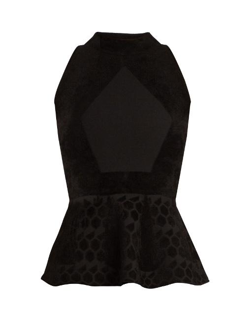 3e287e7e89c6bd Roland Mouret Sleeveless High Neck Top With Peplum In Black