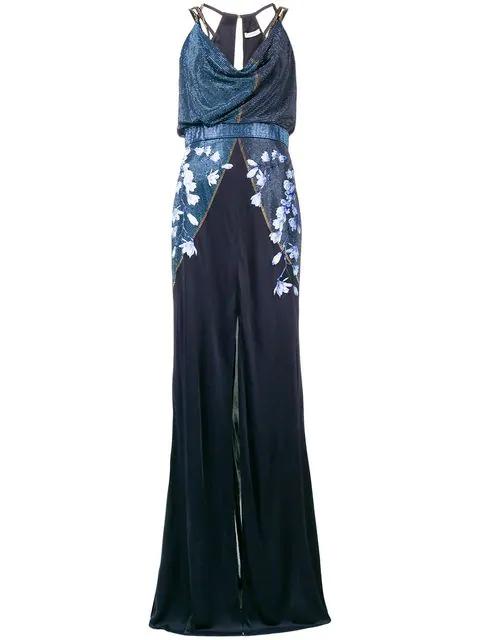 Versace Embellished Floral Long Dress In G2178