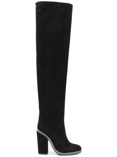 Balmain Chain Long Boots In Black