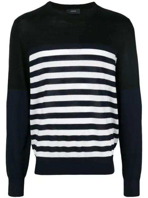 Joseph Stripe Novelty Knit Sweater - Black