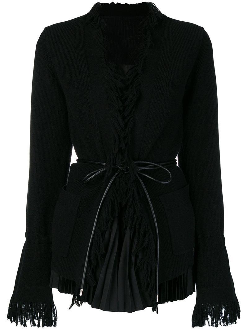Sacai Fringed Layered Cardigan In Black