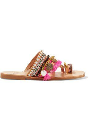 Mabu By Maria Bk Woman Rossetta Embellished Leather Sandals Tan
