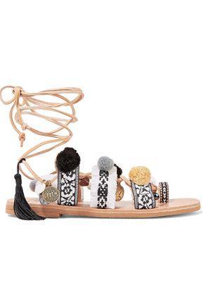 Mabu By Maria Bk Woman Freya Lace-Up Embellished Leather Sandals Beige