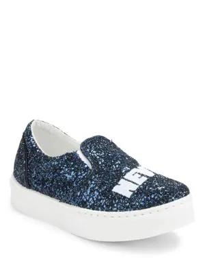 Chiara Ferragni Flirting Glitter Slip-On Sneakers In Blue