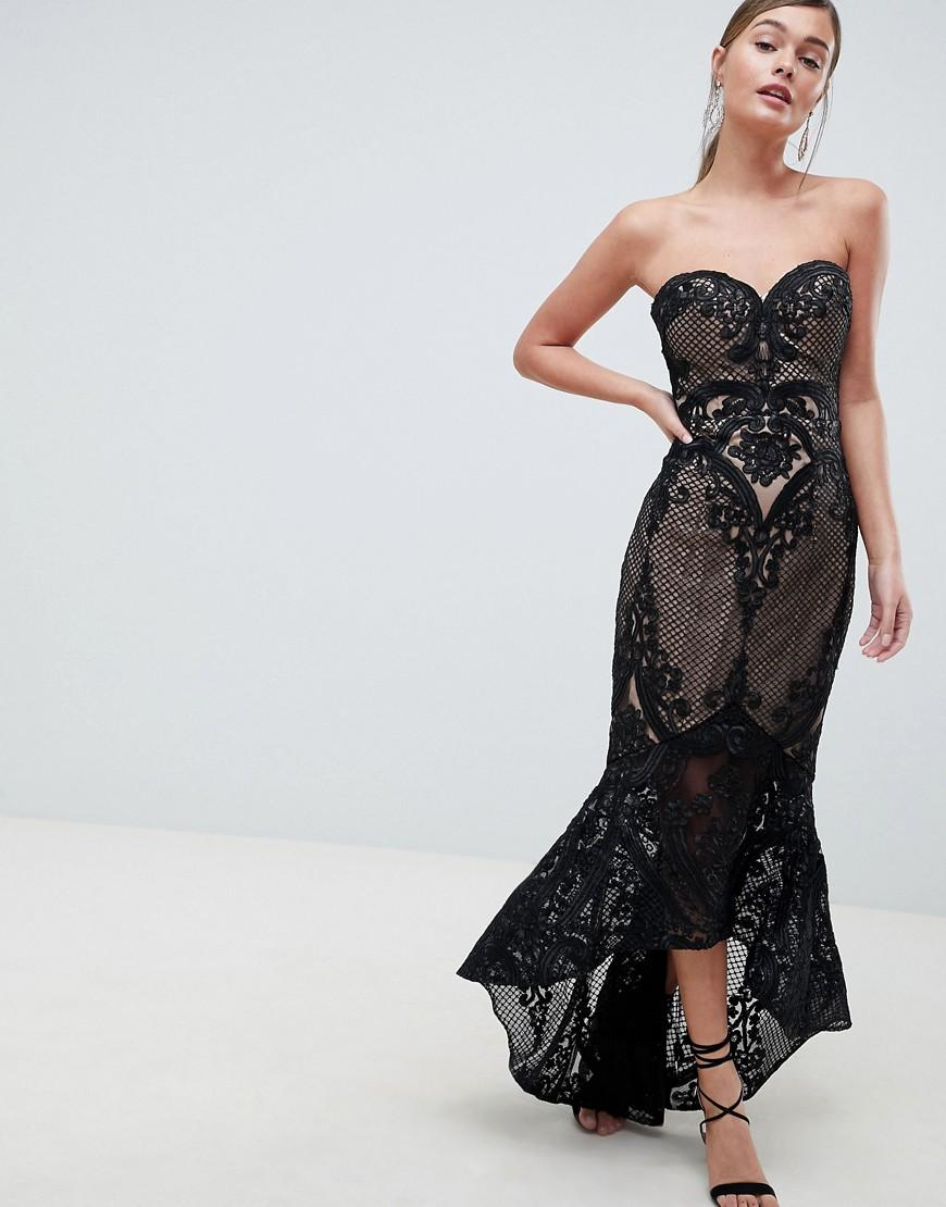 Bariano Sweetheart Fishtail Maxi Dress In Lace - Black