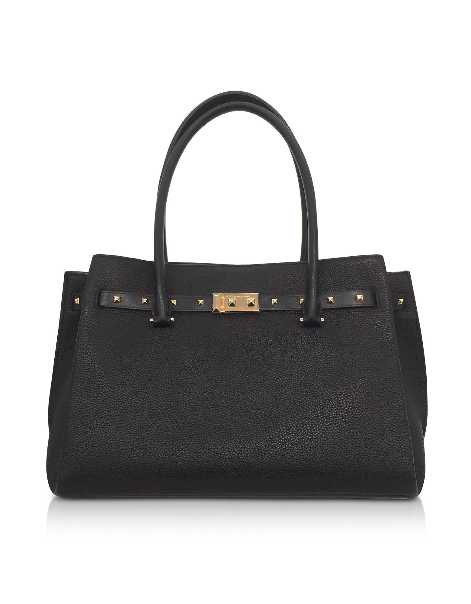 7db99cad1e03 Michael Kors Black Pebbled Leather Large Addison Tote Bag In Black/Gold