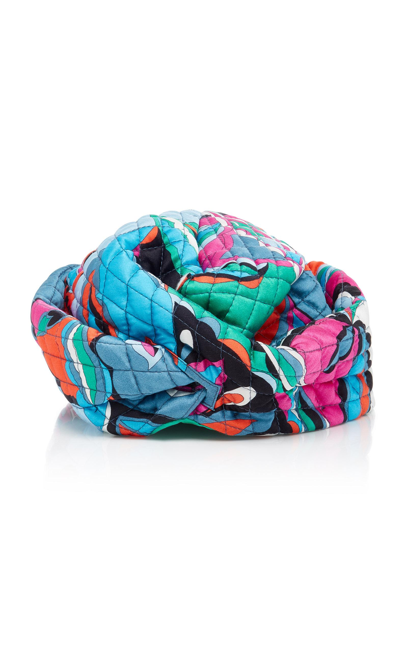 538bc00eb75f9 Emilio Pucci Quilted Silk Turban In Multi