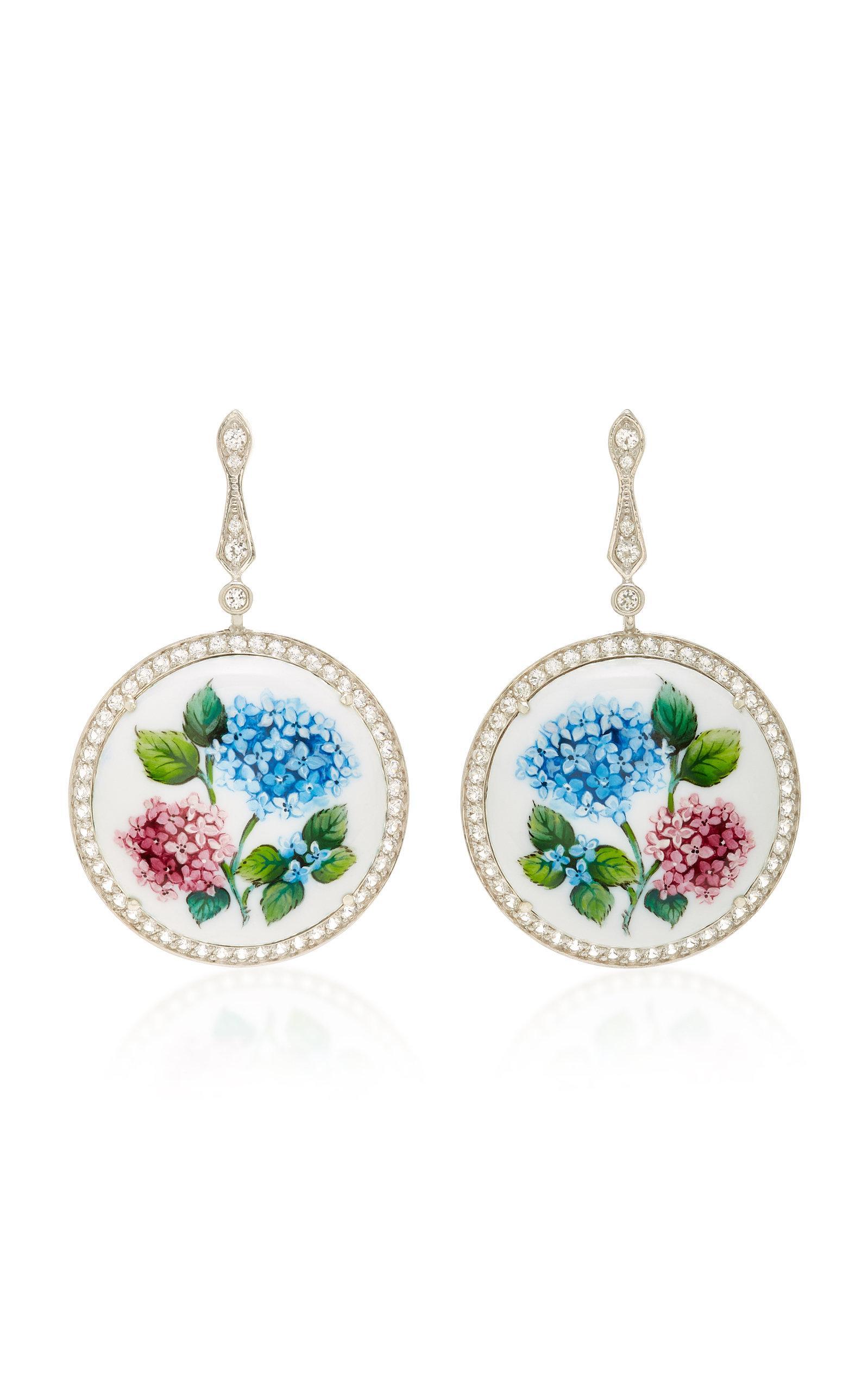 Axenoff Jewellery Flower Addiction Silver Drop Earrings In Floral