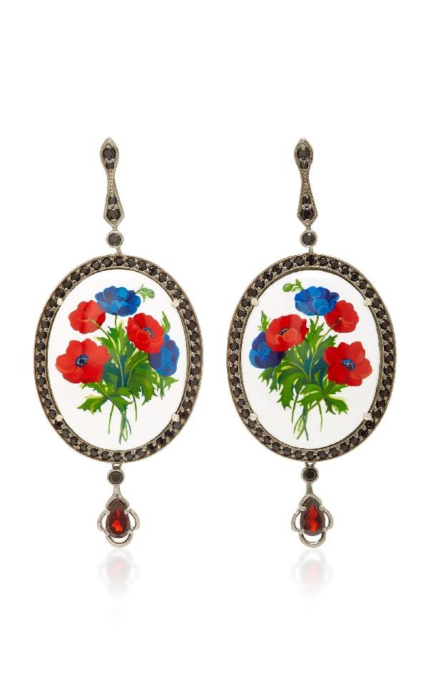Axenoff Jewellery Opium Silver Drop Earrings In Floral
