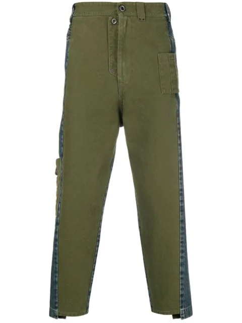 Diesel Black Gold Two Sided Cropped Jeans - Green