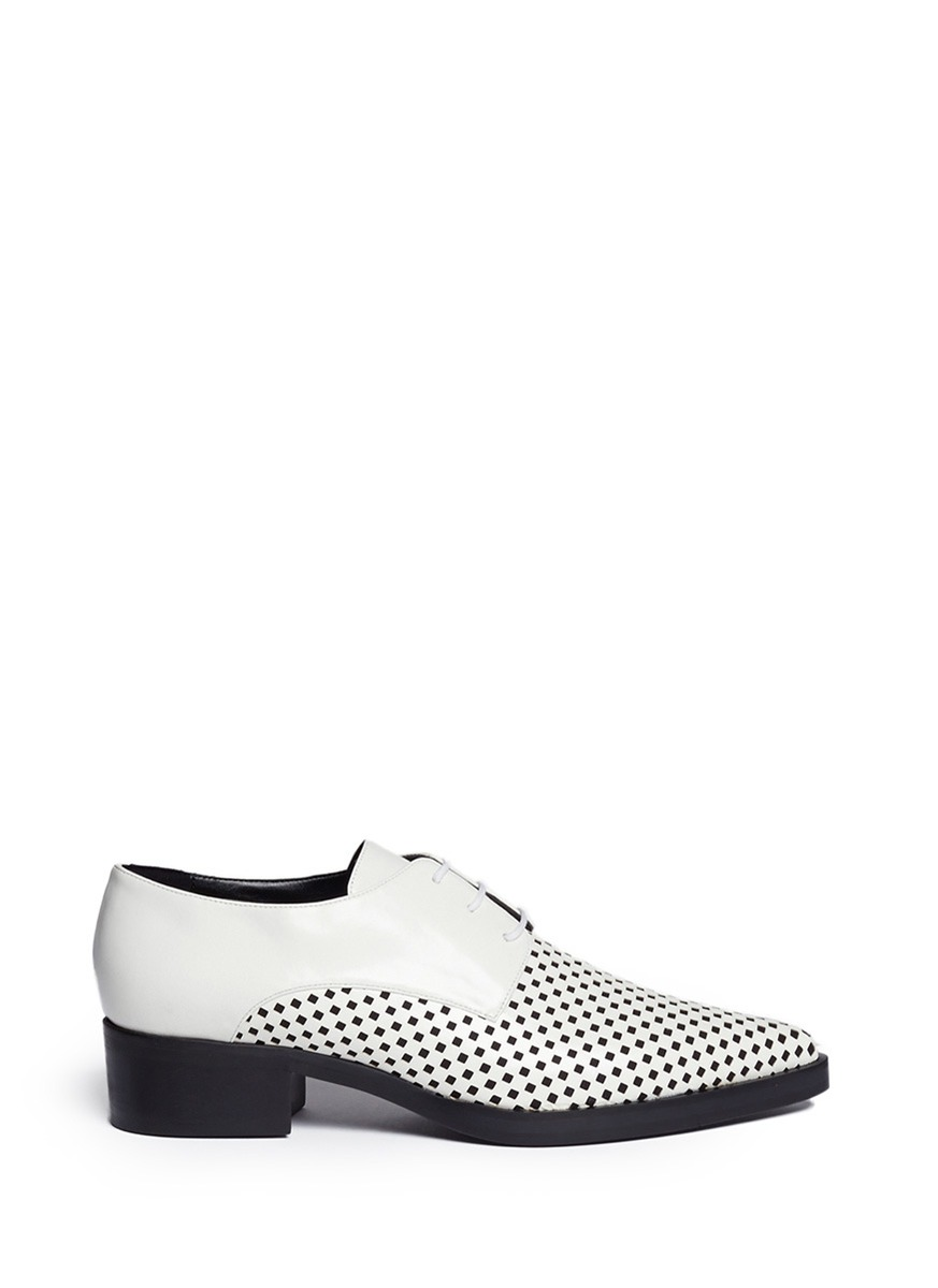 Stella Mccartney Black & White Check Scarpa Derby Shoes In White / Black