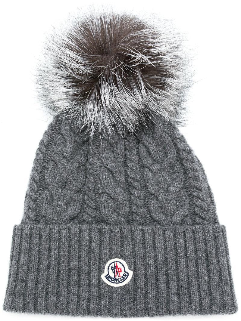 474356df37199 Moncler Pom Pom Cable Knit Beanie - Grey