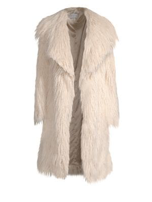 ee9fb4bd12fe Milly Riley Long Faux Fur Coat In Ecru | ModeSens