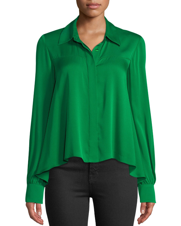 2d68685b17242c Milly Penelope Button-Front Long-Sleeve Silk-Stretch Top In Emerald ...