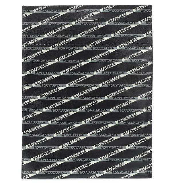 Balenciaga Small Plastic Bag Logo Leather Shopper In Black