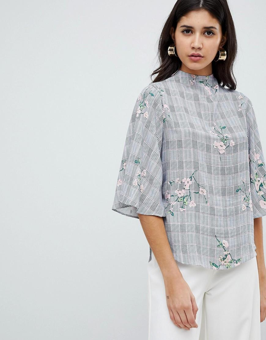 8cfcf76fd57f64 Ax Paris High Neck 3/4 Sleeve Top With Floral Detail - Black | ModeSens