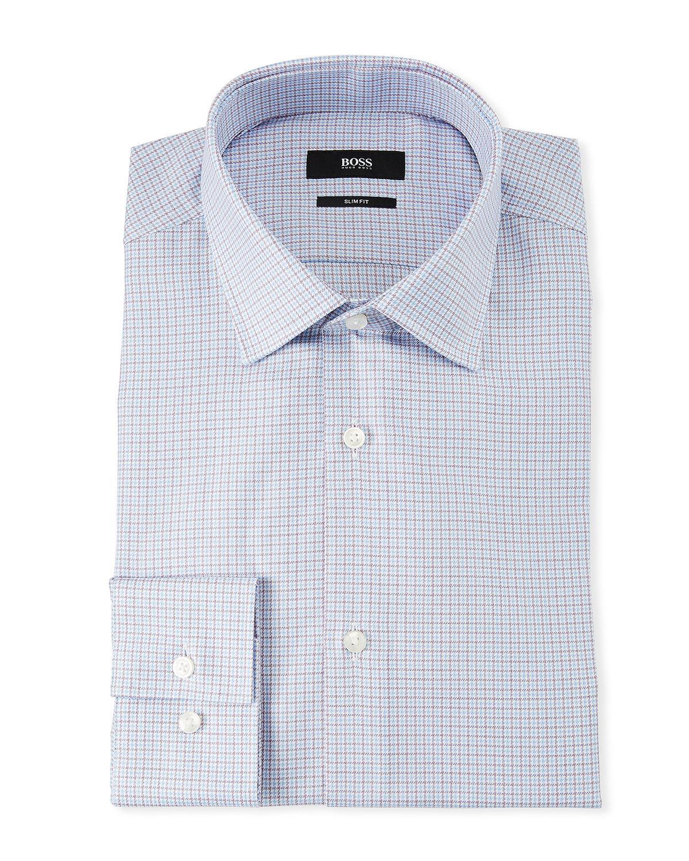 1f1dbd8b Boss Men's Slim Fit Multi-Square Dress Shirt In Dark Purple | ModeSens