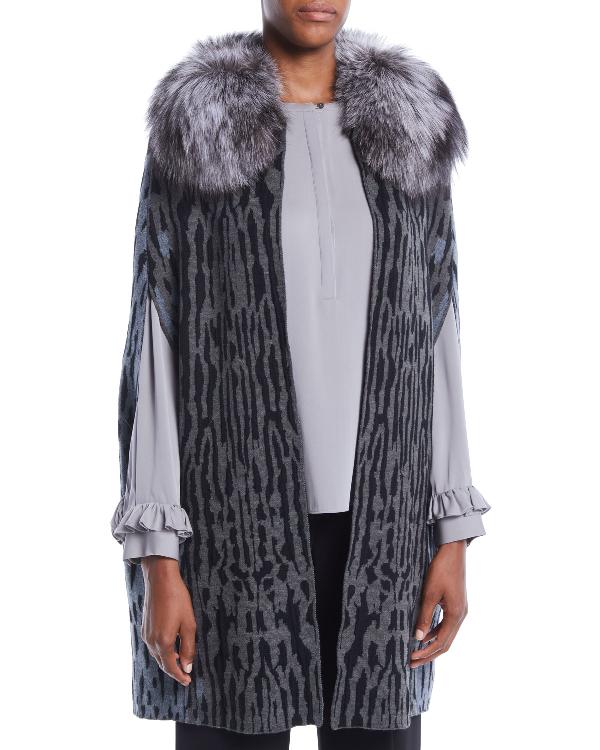 5519b95ae8f42 Kobi Halperin Colene Sweater W  Detachable Fur Collar In Grey Multi ...