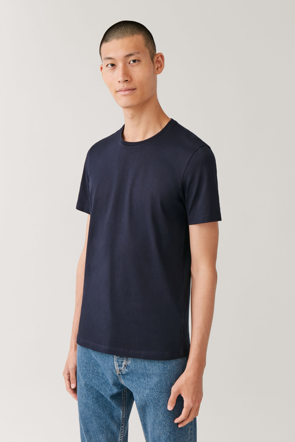 Cos Round-neck T-shirt In Blue