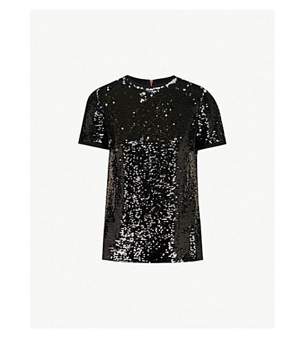 Ted Baker Sequinned Woven T-Shirt In Black