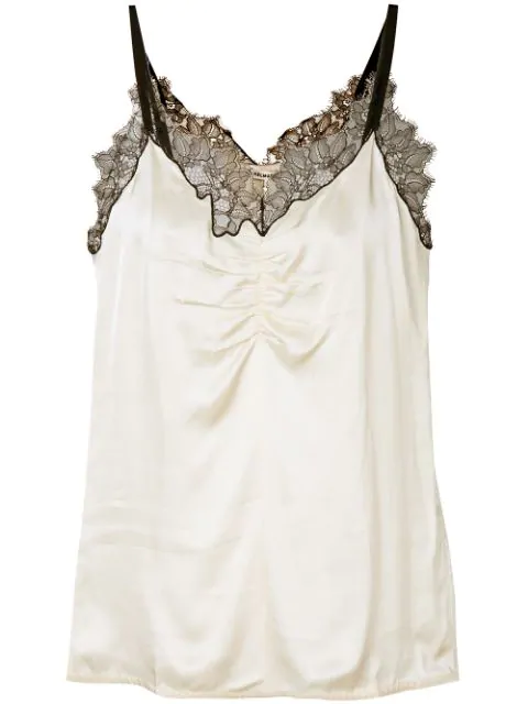 Helmut Lang Lace Trimmed Camisole In Neutrals