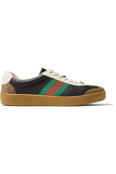 4ead07904 Gucci G74 Textured-Leather And Suede Sneakers | ModeSens