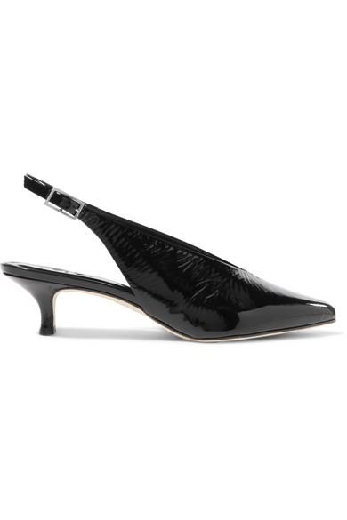 Tibi Lia Patent-Leather Slingback Pumps In Black