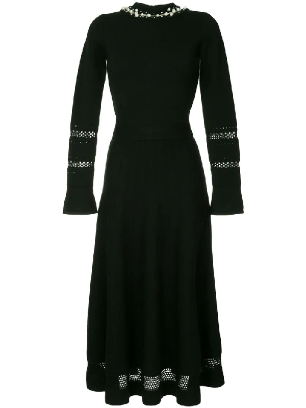 Oscar De La Renta Wool And Silk-Blend Dress In Black