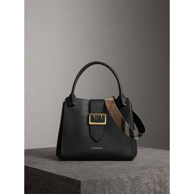 ebb918b752 Burberry The Medium Buckle Tote In Grainy Leather In Black | ModeSens