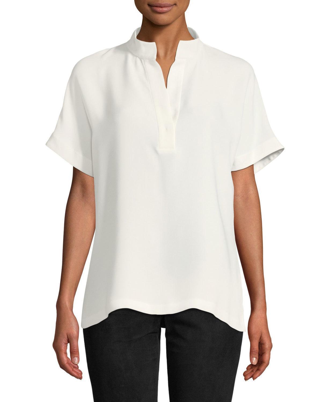 958f590c8b9798 Lafayette 148 Silk Reyn Blouse In White