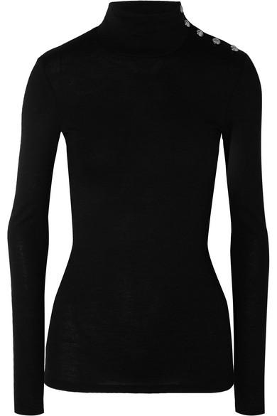 Balmain Button-Embellished Wool And Cotton-Blend Turtleneck Sweater In Black