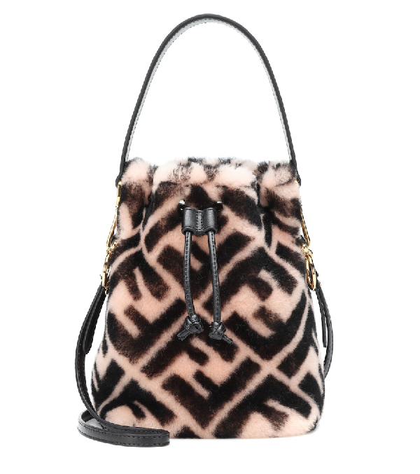 1f99899145a9 Fendi Mon Tresor Ff Shearling Fur Bucket Bag In Pink