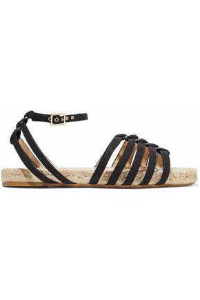Charlotte Olympia Woman Cutout Canvas Espadrille Sandals Black