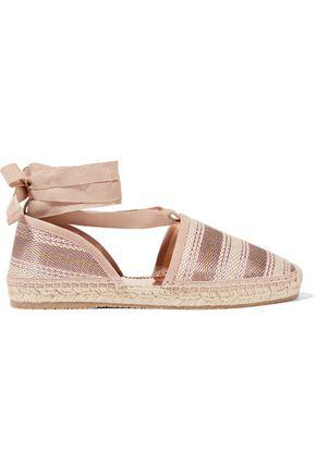 Jimmy Choo Woman Lace-Up Striped Woven Espadrilles Antique Rose