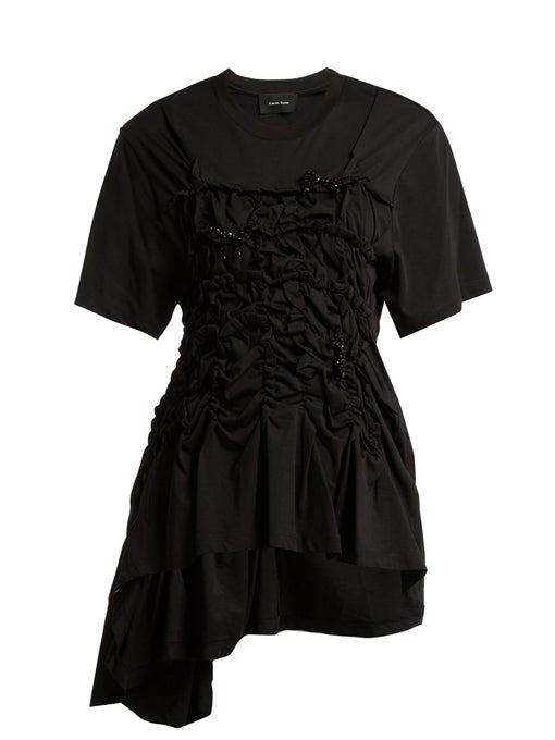 Simone Rocha - Cotton Jersey Ruched Bead Embellished T Shirt - Womens - Black