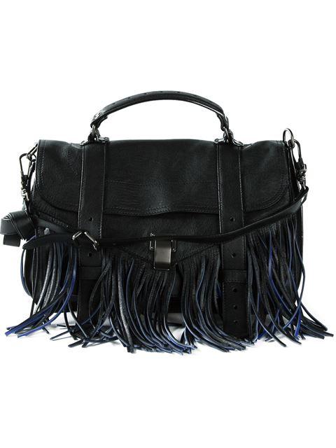 Proenza Schouler Ps1 Tiny Fringe Leather Shoulder Bag In Black