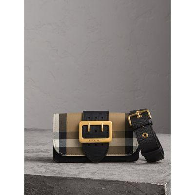 ad713f035700 Burberry Small Buckle House Check   Leather Convertible Clutch - Black In  Harrods