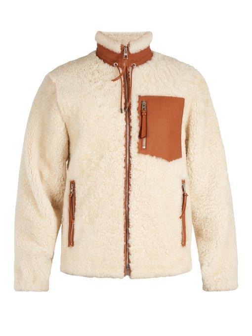 7d43bdb15fb3 Loewe Leather-Trimmed Shearling Jacket - Ivorybone In White