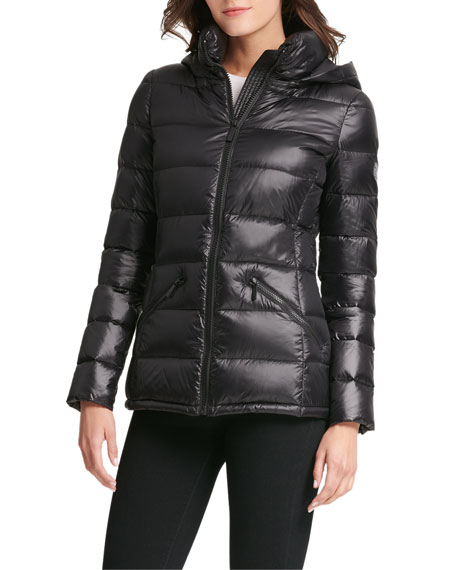 18033f4be Horizontal-Quilted Packable Jacket W/ Hood in Black