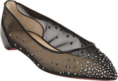 Christian Louboutin Follies Strass Crystal Embellished Flat In Version Hematite